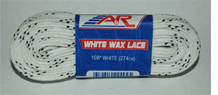 A and R White Waxed Hockey Skate Laces